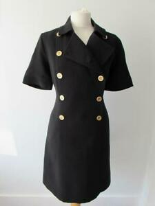 JAEGER Black Smart Tailored Double Breasted Dress Gold Buttons Size 14 VGC