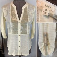 Anthropologie TINY Ivory Embroidered Sequin Button Up Blouse Roll Tab Sleeves S