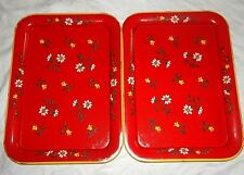 Vintage Red Yellow White Floral Flowers Metal Lap TV Trays 17. 5 Set of 2 - GUC
