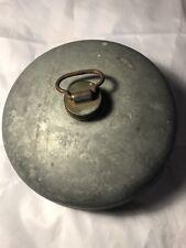 Vintage 8� Round Galvanized Soldered Canteen With Brass Cap