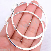 Classic Women's 925 Sterling Silver 55mm/2.1 inch Large Round Hoop Earrings H815