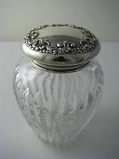 STERLING SILVER & CUT CRYSTAL POWDER JAR GINGER JAR Simpson,Hall,Miller&Co c1895
