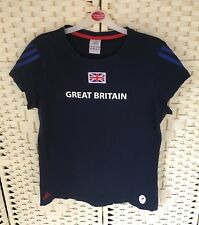 Adidas 2012 Paralympic Team GB Ladies Navy Union Jack T-Shirt Top 16 UK Sport