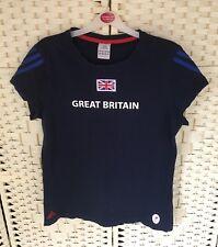 Adidas 2012 Paralympic Team GB Ladies Navy Union Jack T-Shirt Top 16 UK Sport