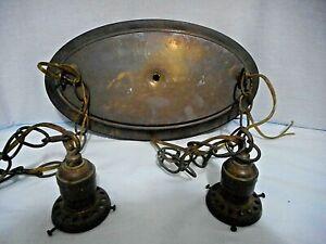 vintage brass/bronze? 2 light hanging ceiling    light chandelier surface mount