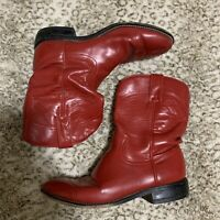 Justin Red Leather Cowboy Western Roper Boots Youth Size 5 D Style 3035Y