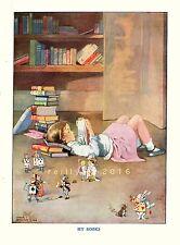 Postcard: Vintage repro print- Girl on floor w/ Books reads Alice in Wonderland