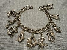 1950's Signed Coro Charm Bracelet - The Ten Commandments - Silvertone