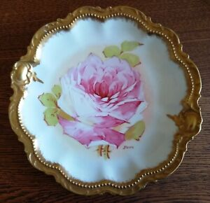 Antique Limoges flowered plate, signed, gold trim, excellent condition