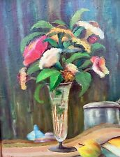 Hübsches Stillleben - Blumen in Vase mit Apfel monogrammiert AM