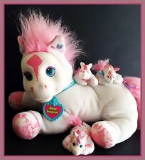 Vintage 1992 Hasbro Pony Surprise White Horse with Pink Hair with Pony Babies