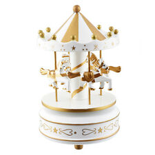 US Stock Merry-Go-Round Music Box Birthday Gift Carousel Excellent White Golden