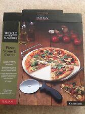 Home-Kitchen Craft MUNDO DE SABORES italiano conjunto de piedra de Pizza cutter