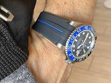20mm Vulcanized Flared Rubber GMT Blue & Black Stripe Strap Band Rolex WaTch