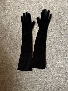 Long Velvet Elbow Length Gloves 20s Halloween Ladies Christmas Fancy Dress