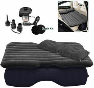 Inflatable Travel Car Mattress Air Bed Back Seat Sleep Rest Mat 2 Pillow Pump