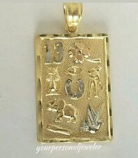 Solid Real 14k Yellow Gold good luck Pendant Charm 3 cm long
