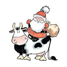 New Penny Black CHRISTMAS RIDE Wood Rubber Stamp Cow Christmas Santa Happy Gifts