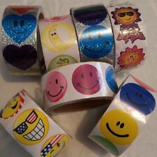 7 - Smile Face Roll Stickers - 700 Total Stickers - New
