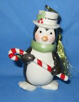 a Lenox Porcelain Christmas Tree Ornament ~ Penguin with a candy cane