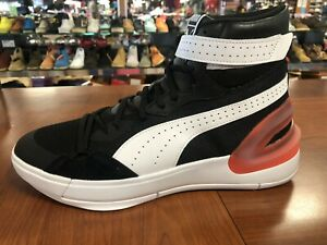 Puma Sky Modern Black Red High Basketball Shoes Men's SIZE 10.5  [19404204]