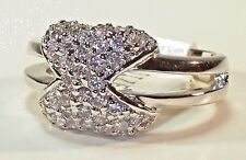 RING Pave CZ Criss-Cross Silver Tone Rhodium Plated Split Band Size 7 Classic!!