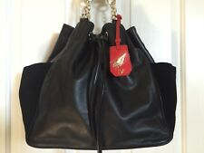 DIANE VON FURSTENBERG *SYDNEY CINCH TOTE* BLACK LEATHER/SUEDE *NEW*