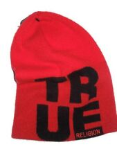 True Religion Cashmere Wool Blend Red Slouchy Knit Beanie Hat Mens One Size