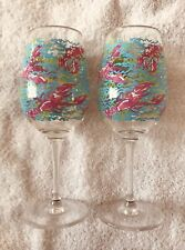 """2 Lilly Pulitzer Acrylic Wine Glasses 9"""" Lobstah Roll Pattern Used"""