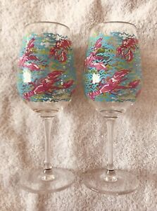 "2 Lilly Pulitzer Acrylic Wine Glasses 9"" Lobstah Roll Pattern Used"