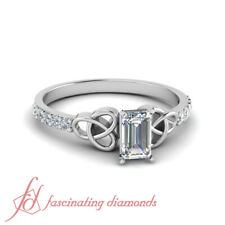 One Carat Celtic Knot Diamond Rings In White Gold With Emerald Cut GIA Certified