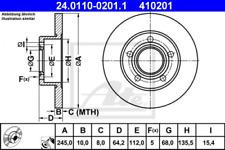 2x Bremsscheibe für Bremsanlage Hinterachse ATE 24.0110-0201.1