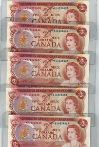 Canada 1974 Bank of Canada $2 Banknotes - 10 Repl. in Sequence - UNC -