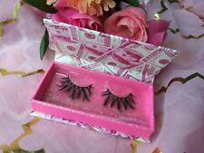 Faux Mink Lashes 1 Pair Natural Short Strip Eyelashes Pink Dollar Bill