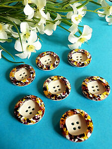"1046/Stunning Buttons "" Tutti Frutti "" Violine Yellow Set Of 7 Buttons Ép. 1950"