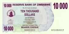 Zimbabwe 10000 Dollars 2007 Pick 46b UNC