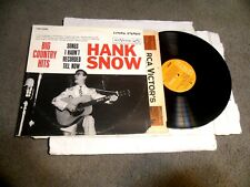 Big Country Hits Songs I Hadn't Recorded Till Now by Hank Snow LP RCA ORANGE Lab