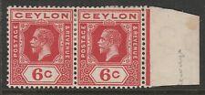 Ceylon 1912-25 George V 6c Pale scarlet with s/ways watermark SG 305a Mint.