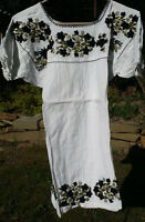 Maya Mexican Blouse Top Shirt Embroidered Flowers Chiapas White Medium M #RE