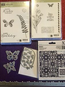 STAMPIN UP BUTTERFLY BASICS 1 And 2 CRAFT CLING RUBBER STAMPS SET DIES LOT