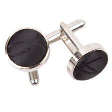 DQT Brass Fabric Inlay Cuff Links Swirl Patterned Black Mens Cufflinks