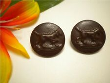 2 ANTIQUE HUNTING DOG ON POINT PICTURE BUTTONS ~ FRENCH GRENOBLE BKMK