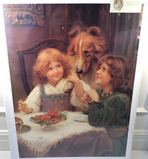 "Victorian Lithograph Print Picture ""Ladies First"" Puppy Dog With 2 Girls16X23"