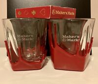 MAKERS MARK Red Wax Drip Glass Set of 2 and Special Edition Set Of Cards