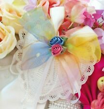 Pillows Ring Bearer Hearts Battenburg Lace White Rainbow Bows Bridal Weddings