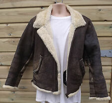Vintage English Made Brown Sheepskin B3 Leather Flying / Bomber Jacket - S