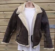 Vintage English Made Brown Sheepskin B3 Leather Flying / Bomber Jacket - S