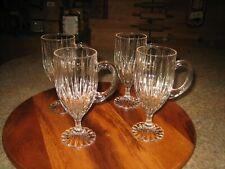 "4 CRYSTAL FLUTED GLASS STEM COFFEE MUG DRINK WARE LATTE IRISH TEA BAILEYS 7 1/2"""