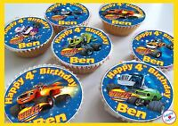 Blaze and the Monster Machines Birthday Edible Personalised Cupcake Toppers