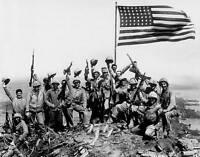 WWII B&W Photo US Marines & Flag Suribachi  USMC Iwo Jima World War WW2 / 1056